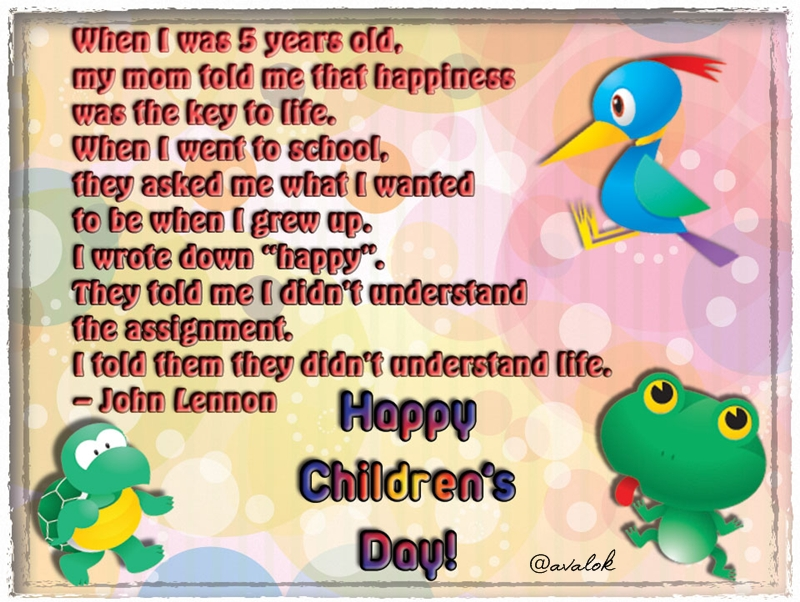 Happy Childrens Day Nov 14 2011 India Avalokarts